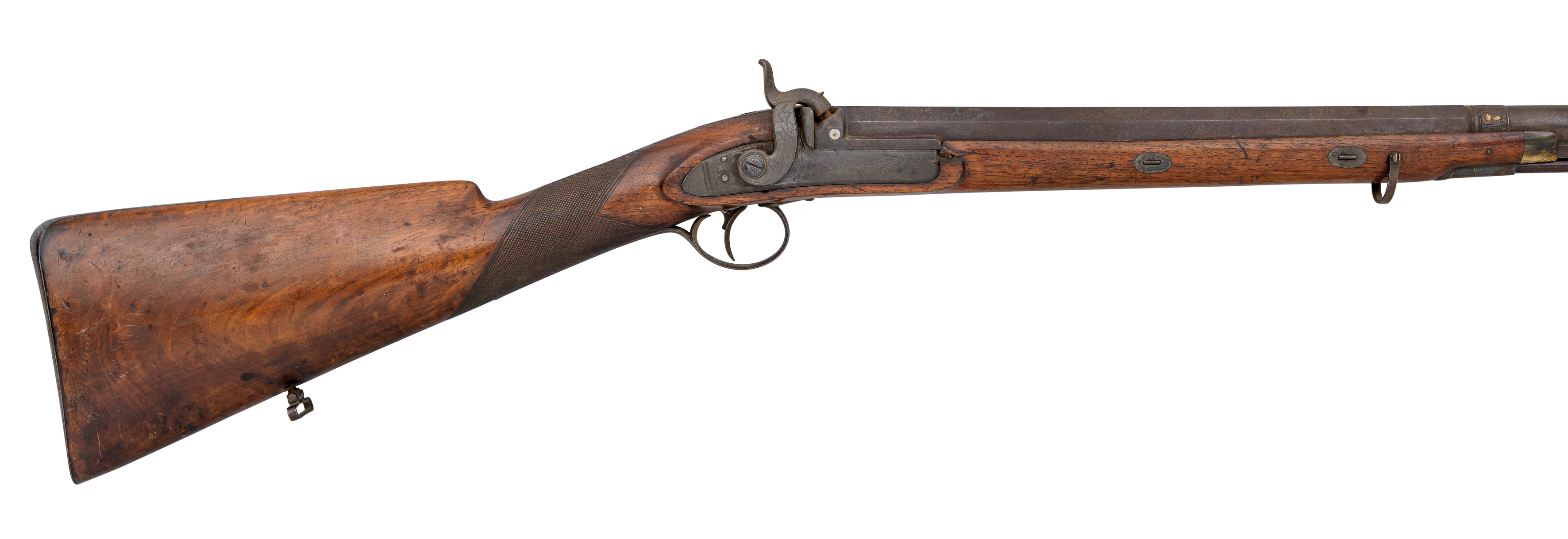 Ⓦ A 12 BORE PERCUSSION SPORTING GUN BY E. BOND^ CIRCA 1820^ WITH EARLIER SPANISH BARREL; AND TWO