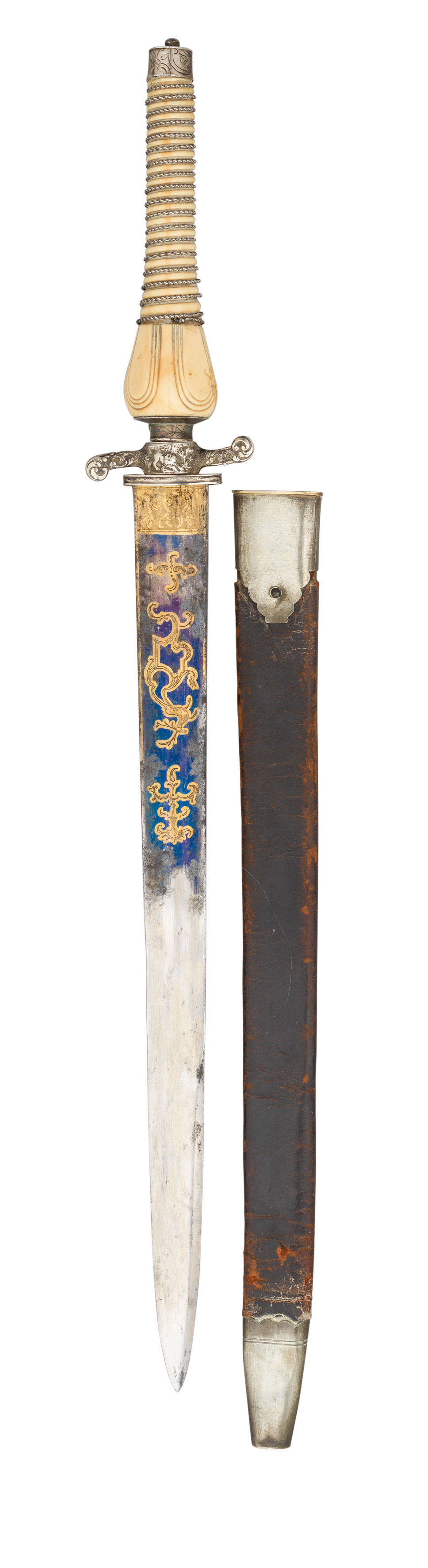 ˜A FRENCH IVORY-AND SILVER-MOUNTED COMBINED HUNTING KNIFE AND PLUG BAYONET^ THIRD QUARTER OF THE 18T