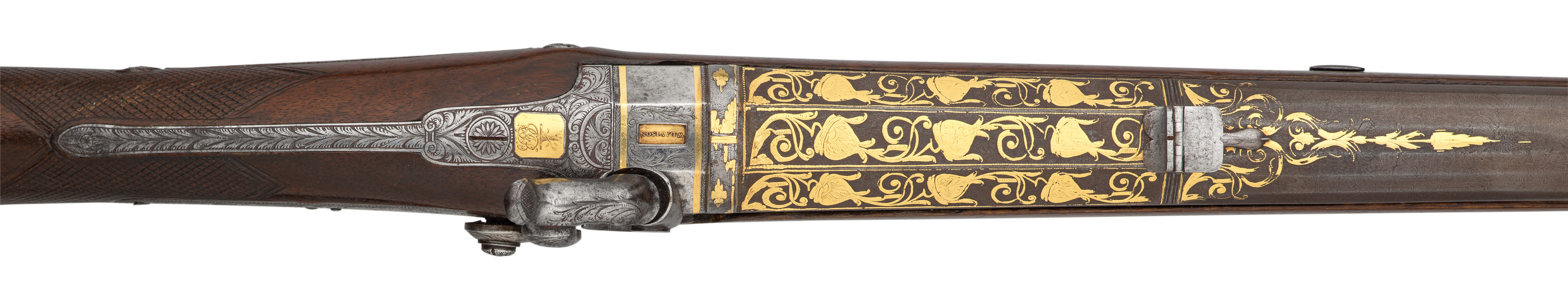 ‡Ⓦ A FINE .600 CALIBRE PERCUSSION SPORTING RIFLE MADE FOR CHARLES JOHN BRANDLING WITH FINE 18TH - Image 3 of 4