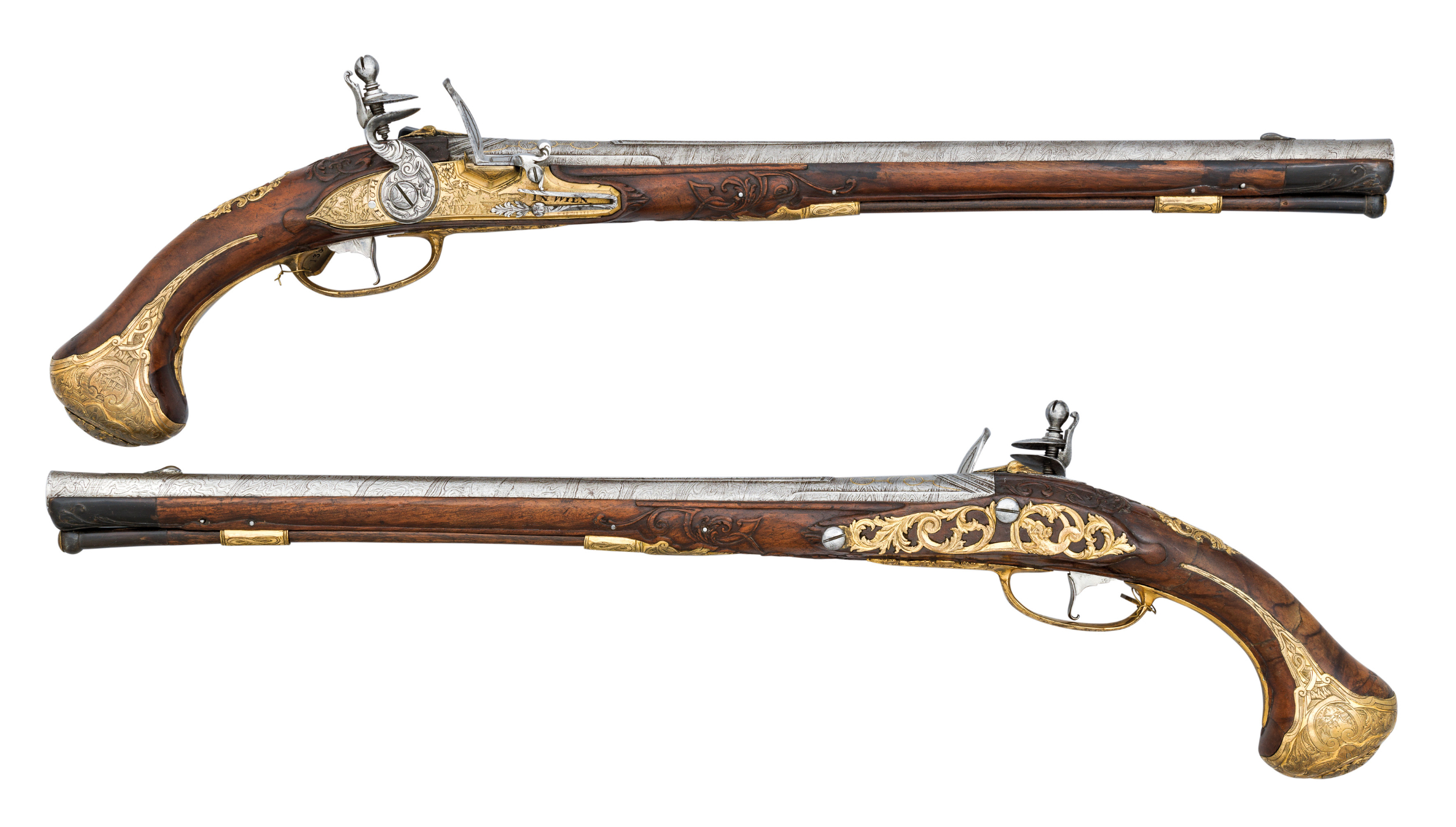 ‡ A FINE PAIR OF 16 BORE VIENNESE LONG FLINTLOCK HOLSTER PISTOLS MADE FOR A MEMBER OF THE BRUNSWICK