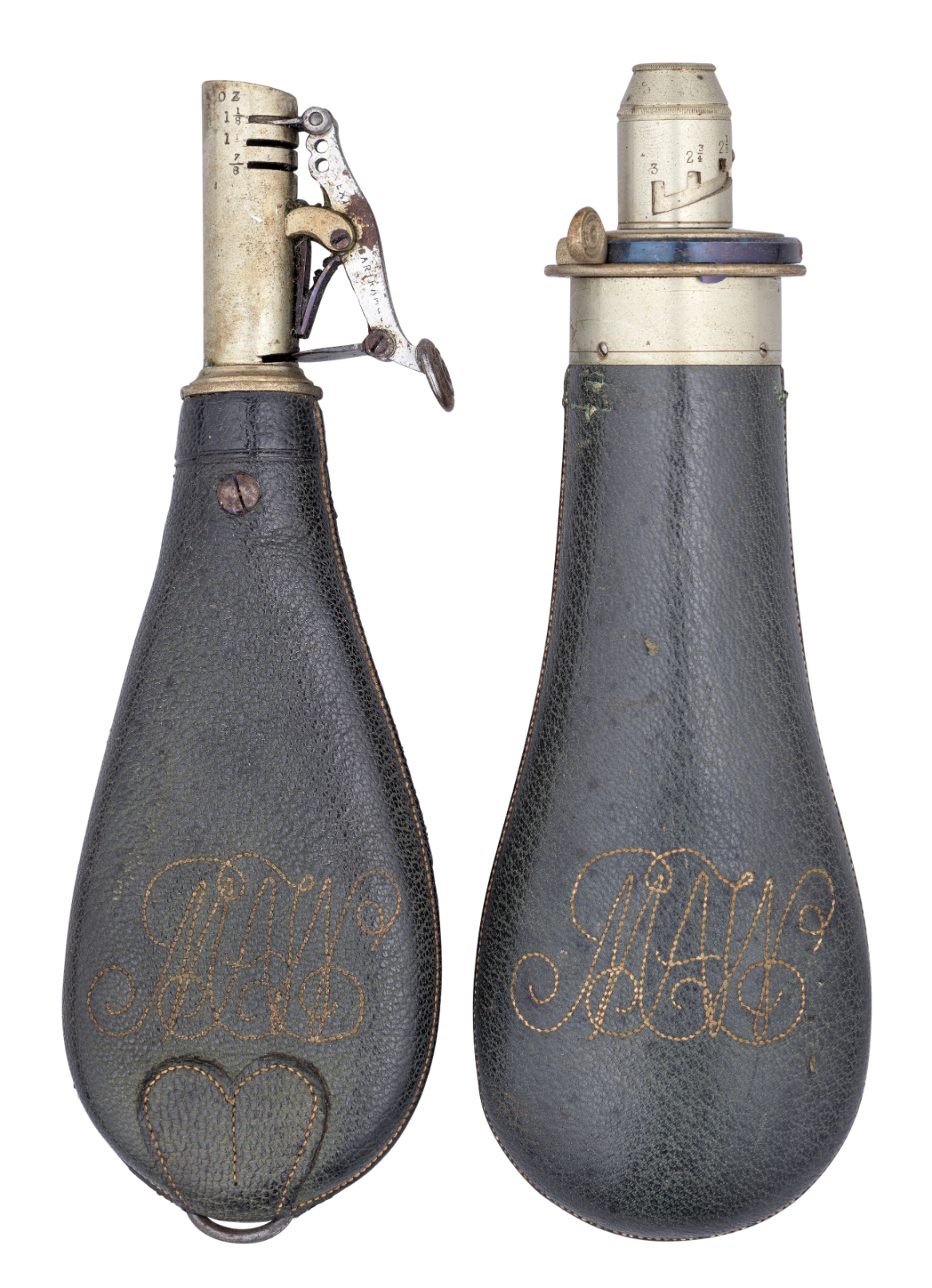 Ⓦ A POWDER-FLASK AND SHOT-FLASK BY BARTRAM & CO^ MID-19TH CENTURY AND EIGHT FURTHER SHOT-FLASKS^