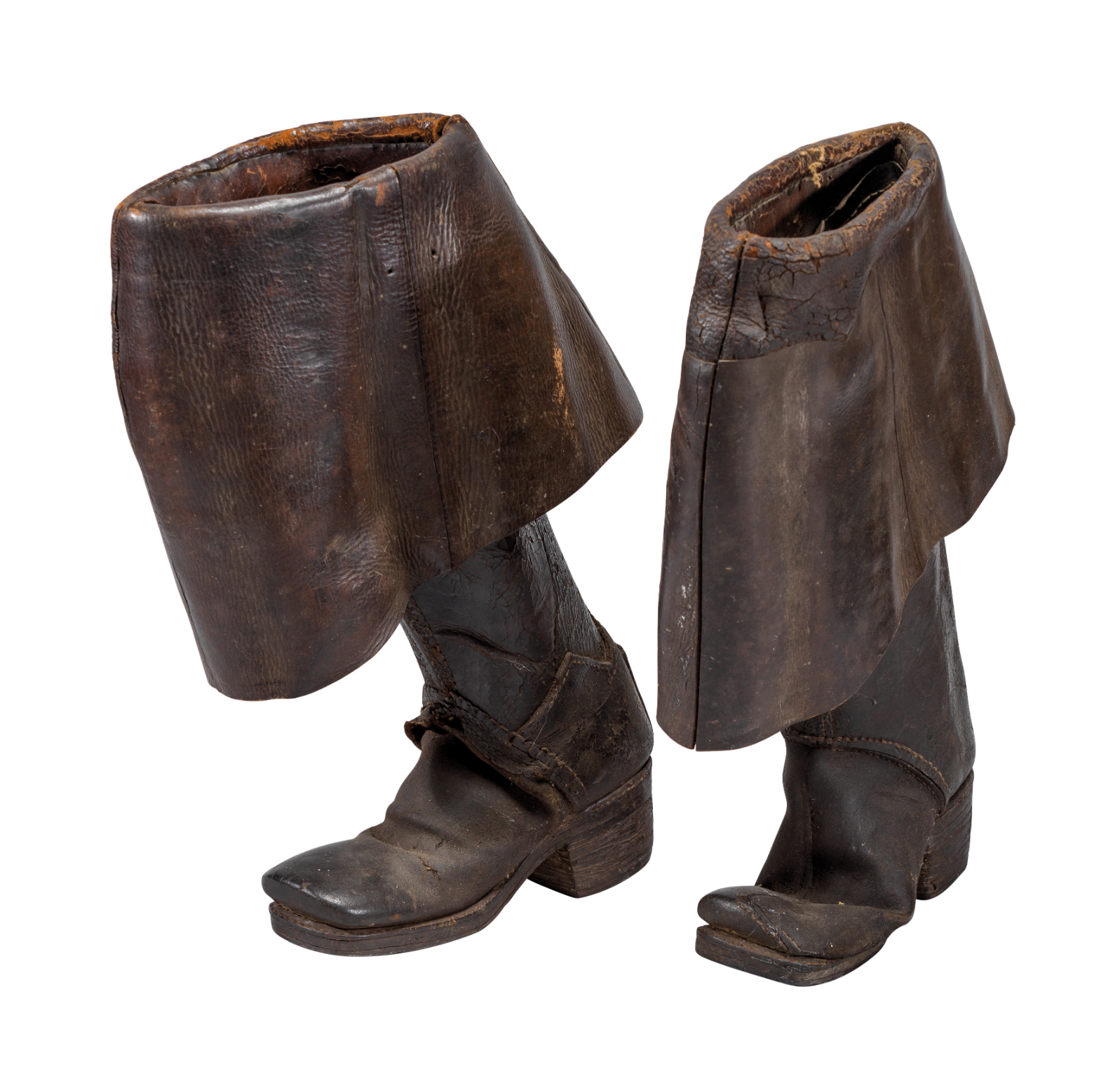 Ⓦ A PAIR OF ENGLISH HORSEMAN'S BOOTS^ CIRCA 1700
