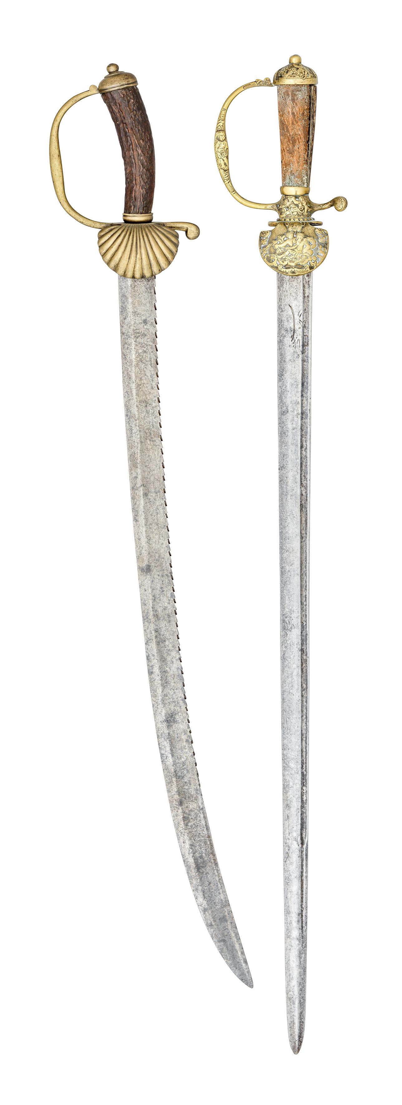 ˜Ⓦ THREE GERMAN HUNTING SWORDS^ MID 18TH-CENTURY