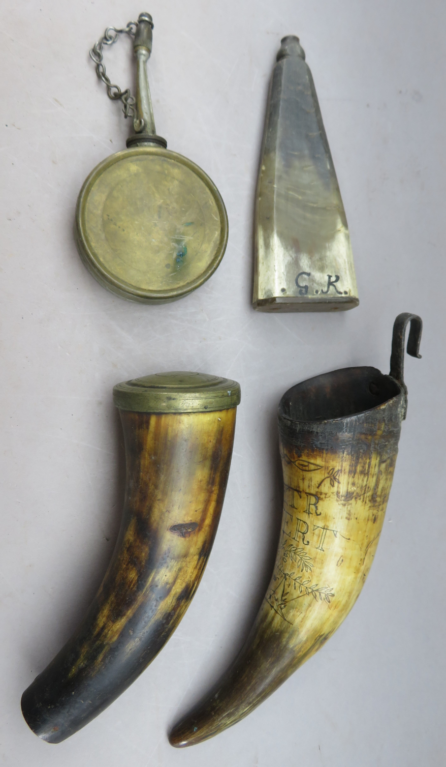 Ⓦ THREE HORN FLASKS^ 18TH CENTURY AND A FURTHER FLASK