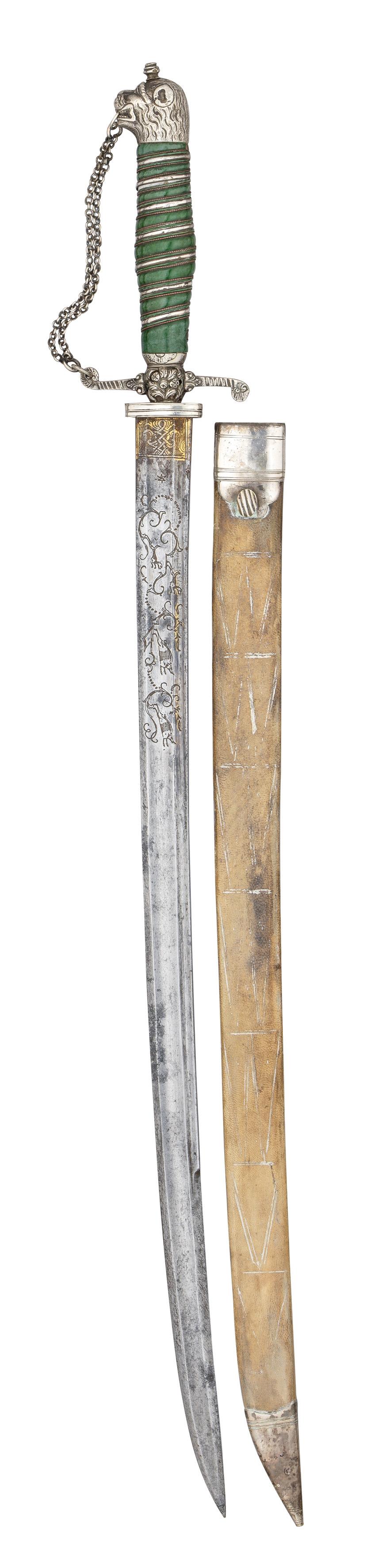 ˜Ⓦ AN ENGLISH SILVER-MOUNTED HUNTING SWORD^ CIRCA 1770