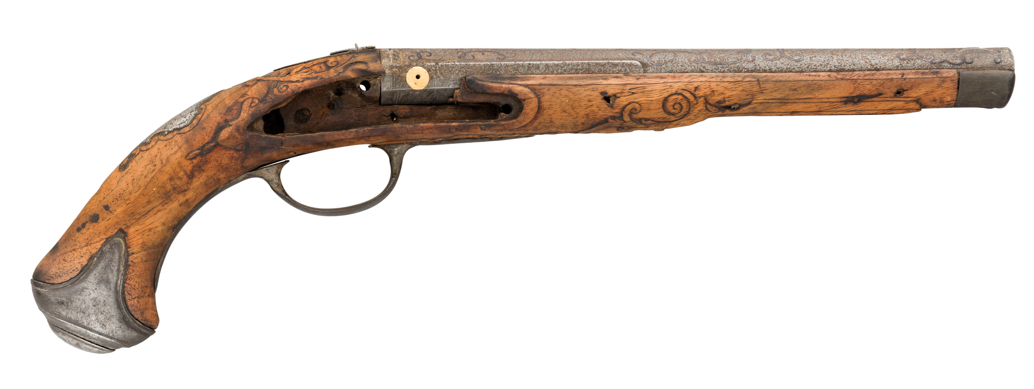 Ⓦ THE BARREL^ STOCK AND MOUNTS OF A 32 BORE SOUTH GERMAN FLINTLOCK HOLSTER PISTOL BY I. CHRISTOPH