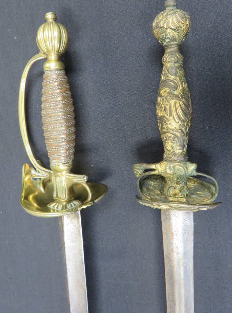 Ⓦ A SMALL-SWORD WITH BRASS BOATSHELL-GUARD^ CIRCA 1780 AND ANOTHER^ CIRCA 1760