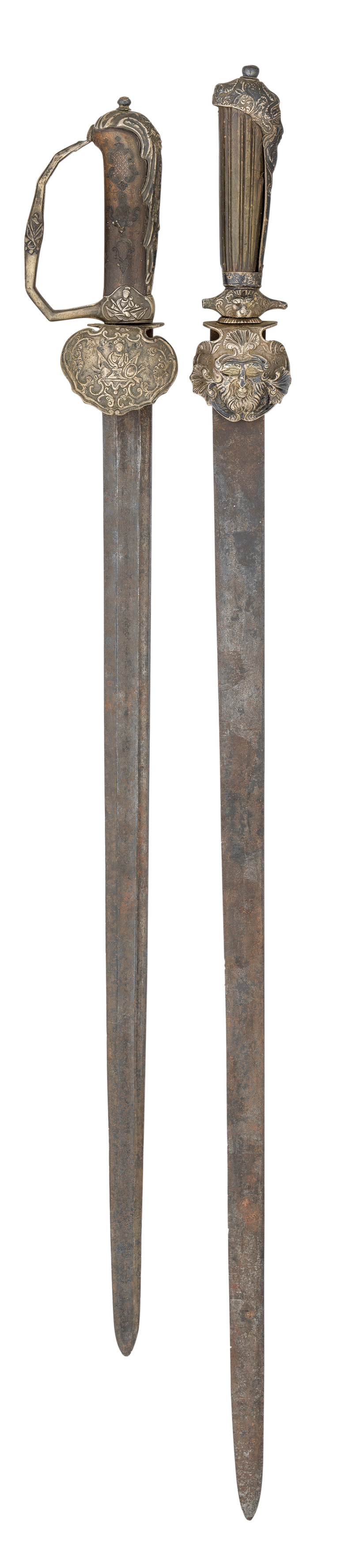 Ⓦ THREE ENGLISH HUNTING SWORDS^ CIRCA 1750