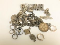 A large quantity of silver jewellery