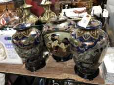 Three oriental style table lamps