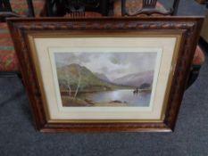 """An Edwardian oak framed print entitled """"Highland Solitude"""""""