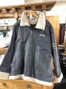 A brown leather Royal Airforce style jacket, XXL.