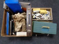 A quantity of artist's items including paint, case,
