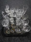 A tray of crystal, glass ware,