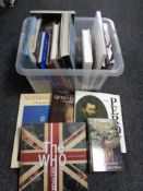 A box of books including royalty, design,