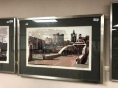 Norman Wade : Swing Bridge, Newcastle Upon Tyne, screenprint in colours, an artist's proof,