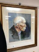 A gilt framed watercolour portrait by J.
