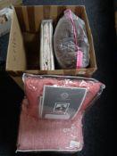 A box of quantity of new linen including designer throw,