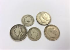 A William IV one shilling 1836, a George IV one shilling 1825,