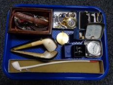 A tray of costume jewellery, pipes in case,