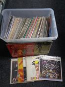 A box of large quantity of motion picture and sound track vinyl records.