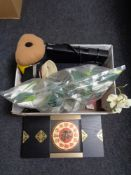 A box of household sundries to include tea light holders, artificial plants, wall clock,