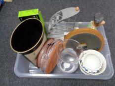 A box of kitchen sundries, wall clock,
