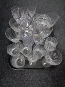 A tray of crystal glass decanter and other glass