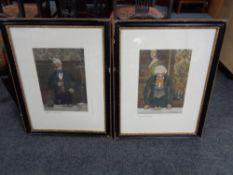 """Two Dendy Sadler prints entitled """"gentleman, The King"""" and """"gentlemen, absent friends"""", framed."""