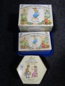 A Wedgwood Peter Rabbit children's tea set, six piece and a ten piece set all boxed,