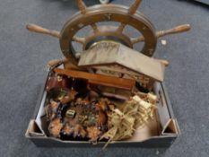 A box of ship's wheel clock, carved wall clock,