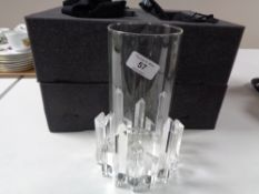 A Luxenoa Round Shard iced glass candle holder in retail packaging with dust covers