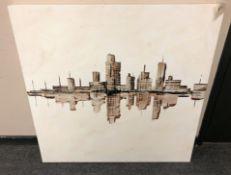 Jack Mason : Skyscraper Skyline with Reflection, oil on canvas, signed, 94 cm x 94 cm,
