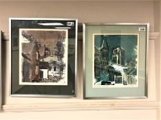 Norman Wade : Durham Cathedral, screenprint in colours, numbered 53/200,