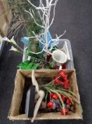 Two boxes of house hold sundries including china table lamp, glass vase, artificial flowers,