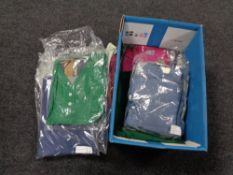 A box of new and un-worn clothing,