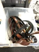 A quantity of leather belts.
