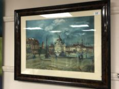 Antoni Sulek : Figures in a Town Square, oil on board, signed, 36 cm x 50 cm, framed.
