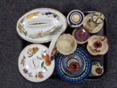 A tray of Torquay ware, Evesham dishes,
