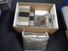 A box of new bedding and linen including Kelly Hoppen,