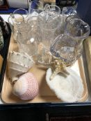 A tray of crystal, glass, jugs,