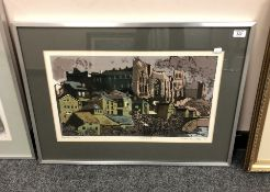Norman Wade : Durham Castle, screenprint in colours, an artist's proof,