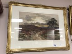 Harry Sticks : View across moorland, watercolour, signed, framed.