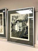 Norman Wade : Magdalen Steps, Durham, screenprint in colours, an artist's proof,