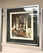Norman Wade : Durham - The West Front, screenprint in colours, numbered 49/150,