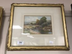 Harry Sticks : A river with bridge beyond, watercolour, signed, framed.