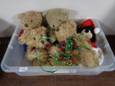 A collection of modern teddy bears and soft toys.