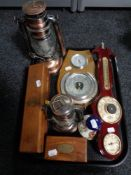 A tray of nautical reproduction pieces including telescope, barometer, lamps,