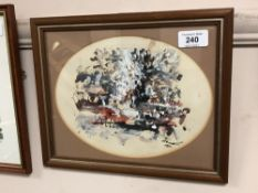Antoni Sulek : Abstract Study, watercolour with bodycolour, signed, 18 cm x 23 cm, framed.