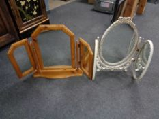 A white and gilt triple dressing table mirror together with a pine triple mirror